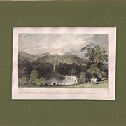 Matted Victorian topographical Steel Engraving with Hand-colouring: Belvoir Castle, Leicesters