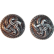 Celtic Silver Earrings with Interlaced Bird Design