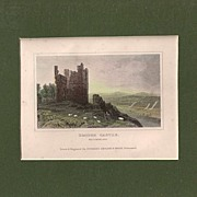 Matted Victorian topographical Steel Engraving with Hand-colouring: Brough Castle, Westmorland