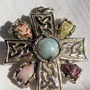 Celtic Silvertone Cross Pendant/Brooch