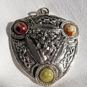 Celtic Silvertone Pendant with Three Ceramic Stones