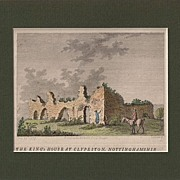 Matted copper engraving with later Hand-coloring: Dated 1777: The King's House at Clypeston, N