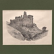 Matted topographical engraving, circa 1900: Crichtoun Castle
