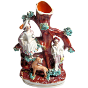 Antique Staffordshire Spill Vase: Couple in Bocage with Deer