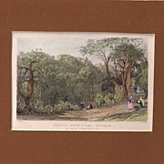 Matted Victorian topographical Steel Engraving with Hand-colouring:Castle Eden Hall, Durham