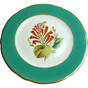 Set of Six Green-edged Dessert Plates with individual Hand-painted Flower Centres