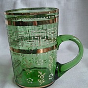 Green Glass Souvenir Mug