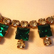 Lovely Green & Clear Rhinestone Necklace: Simple but Dramatic