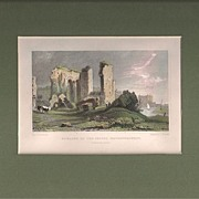 Matted Victorian topographical Steel Engraving with Hand-colouring:Remains of the Priory, Have