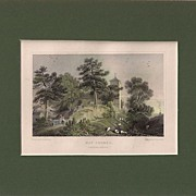 Matted Victorian topographical Steel Engraving with Hand-colouring: Hay Church