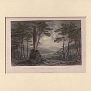 Matted Victorian topographical Steel Engraving with Hand-colouring: Battle Stone, or Percy Cro
