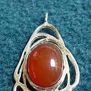 Silver and Real Stone Pendant: Carnelian
