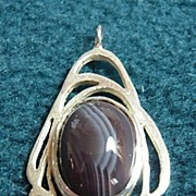 Silver and Agate Pendant: Grey/Natural