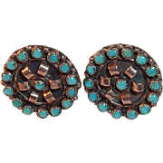 South Western Style Silver and Turquoise Colored Stone Earrings - Screw backs