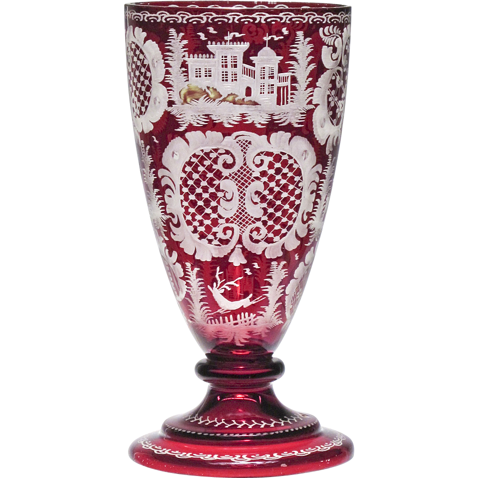 antique ruby red cut to clear bohemian goblet vase from oh on ruby lane. Black Bedroom Furniture Sets. Home Design Ideas
