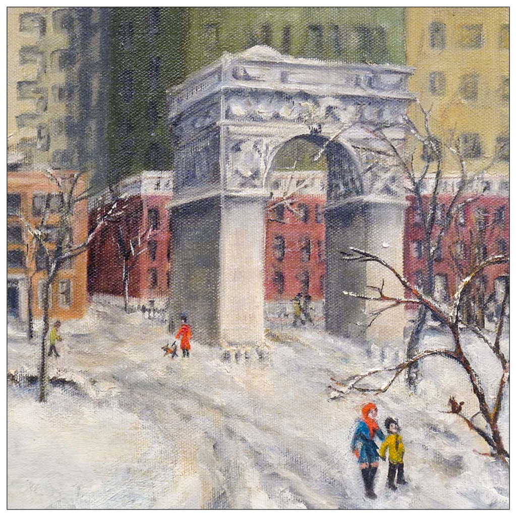 Washington square park in winter painting of new york city 20th c