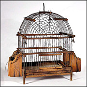 Antique American Pine & Wire Ware Bird Cage w/ Bells - Wireware - Folk Art - Americana - Naive
