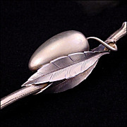 "Gorham Aesthetic Movement ""Olive Spoon and Fork"" - 1880's - Gilded Sterling Silver -"