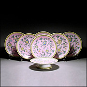 Antique 19th C Derby Crown Porcelain Dessert or Luncheon Set w/ 6 Plates & Compote / Comport /