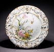 Large Antique French Faience Charger w/ Insects - Hand Painted - Tin Glazed - Plate - Platter