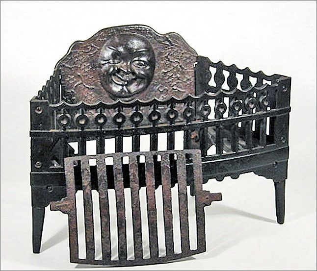 Antique Cast Iron Fireplace Grate Insert For Wood Or Coal W Winking From Oh On Ruby Lane