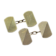 Solid 9K Gold Art Deco Double Sided Cufflinks - Mid Century Look - 1930's British Hallmarks - 