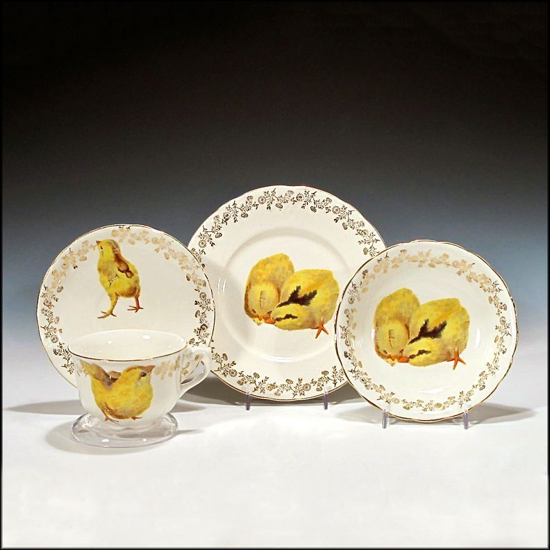 French Child's Cup, Saucer, Plate, and Bowl w/ Chick Transfer Decoration