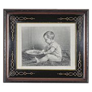 SALE Steel Engraving after Timoleon Lobrichon in Antique Period Eastlake Victorian Frame - Bab