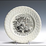 19th C Child's Transferware Plate with Bedtime Prayer and Angels