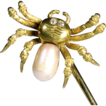 Signed Tiffany 18K Gold Spider Stick Pin with Pearl Body and Diamond Eyes