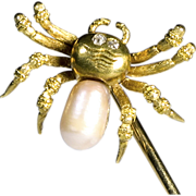 SALE Signed Tiffany 18K Gold Spider Stick Pin with Pearl Body and Diamond Eyes