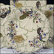 Six Copeland and Garrett Plates - Relief Molded with Leaves and Vines - Painted Peacocks and F