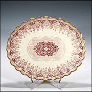 Antique Copeland Red Transferware Platter ( Spode ) 1847 - 1867 - Transfer Ware