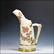 Large Antique Royal Worcester Tusk Vase with Antler Handle