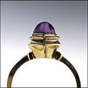 14K Gold Ring with Amethyst Cabochon