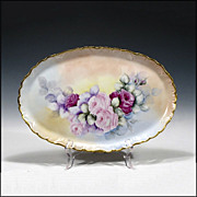 Antique Porcelain Tray with Hand Painted Roses and Provenance - 19th C