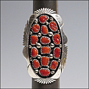 Large Signed Native American Ring - Sterling Silver and Coral - K Jones - Size 9 1/4
