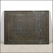 Architectural Bronze &quot;Carnegie Hall&quot; Plaque - Comemmorative Sign