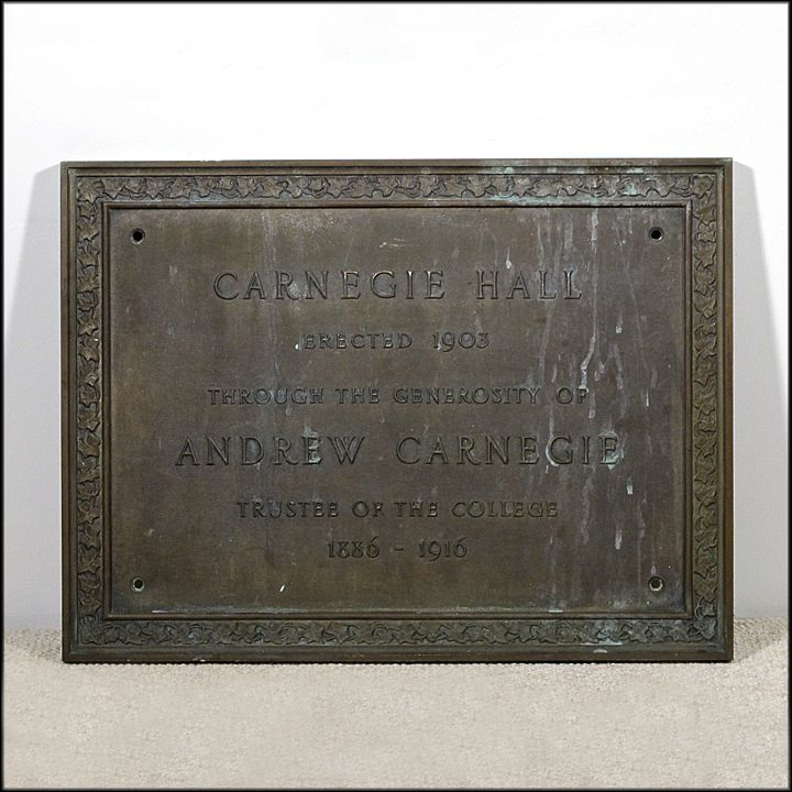 "Architectural Bronze ""Carnegie Hall"" Plaque - Comemmorative Sign"