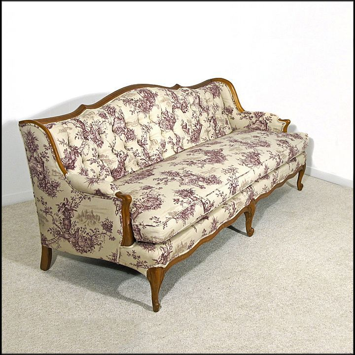 French Provincial Style Tufted Sofa Newly Upholstered