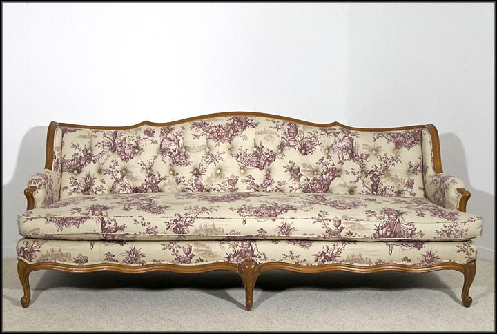French Provincial Style Tufted Sofa Newly Upholstered From Oh On Ruby Lane