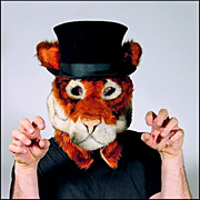 Grrr... Tiger with a Top Hat - Adult Size Full Head Mask Professionally Hand Tailored in the U