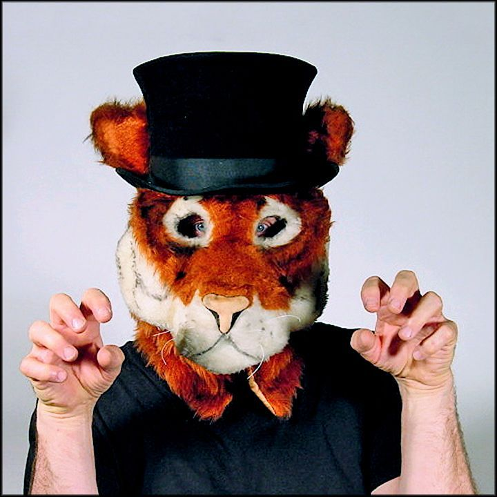 Grrr... Tiger with a Top Hat - Adult Size Full Head Mask Professionally Hand Tailored in the USA