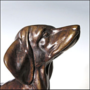 SOLD LAYAWAY Bronze Dachshund Dog Sculpture