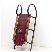 SOLD Antique Paris Clipper Sled from Maine in Original Red Paint with Swan - Sleigh - Folk Art