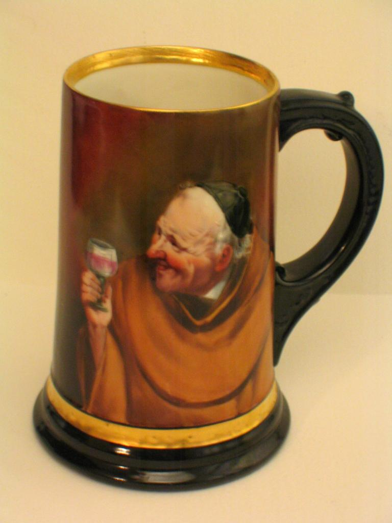 Hand Painted Limoges Monk Tankard Signed BRAUER