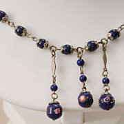 Antique Blue Hand Blown Venetian Beads with Designs Necklace