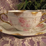 Gorgeous Haviland & Co Limoges France Bouillon Cup and Saucer Delicate Pink Roses ~ circa 1893