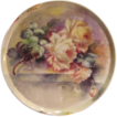 Breathtaking LARGE 15 3/4&quot; ROMANTIC TEA ROSES Antique Limoges French Hand Painted Victorian Canvas Art Plaque Tray Charger Tressemann and Vogt T&V circa 1900