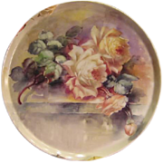 "Breathtaking LARGE 15 3/4"" ROMANTIC TEA ROSES Antique Limoges French Hand Painted Victori"